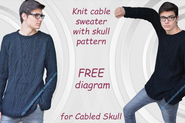 Knit cable sweater with skull pattern – FREE diagram for Cabled Skull