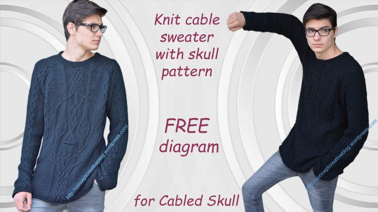 Knit Cable Sweater With Skull Pattern Free Diagram For Cabled Skull